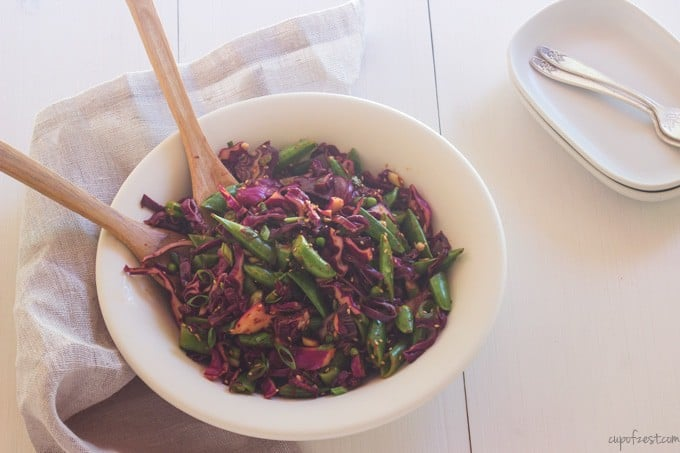Snap Pea Cabbage Salad - Tossed
