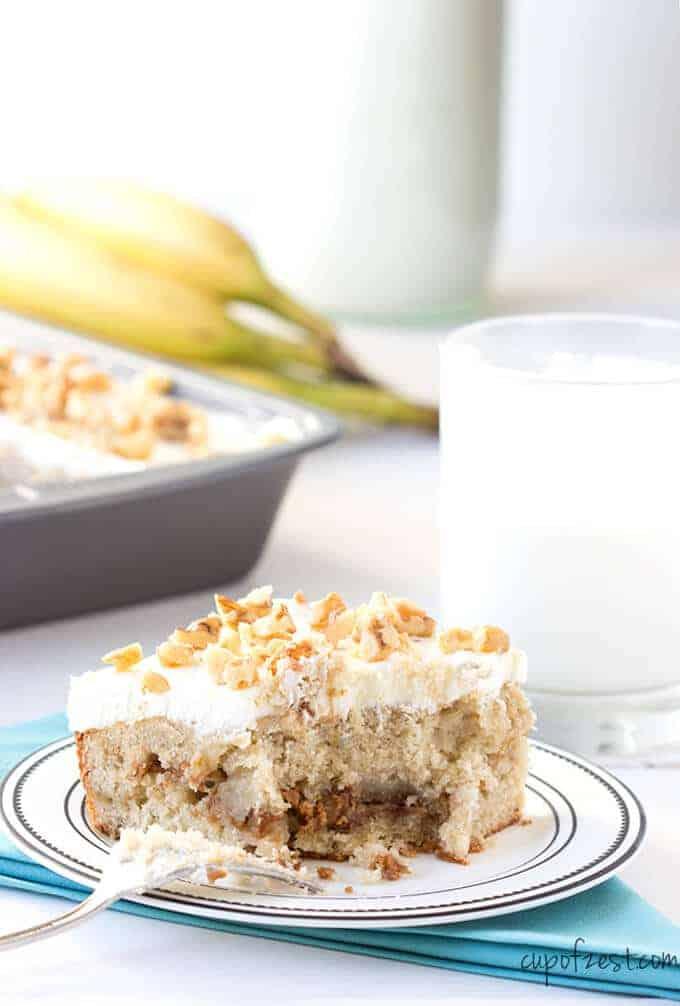 Banana Peanut Butter Cake with Bite