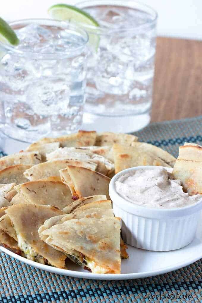 Spicy Chipotle Quesadillas in Dip