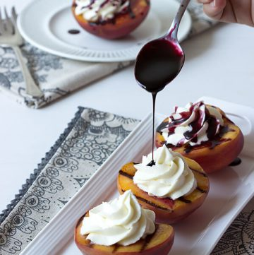 Grilled Peaches with Mascarpone Cream and Port Reduction Drizzle