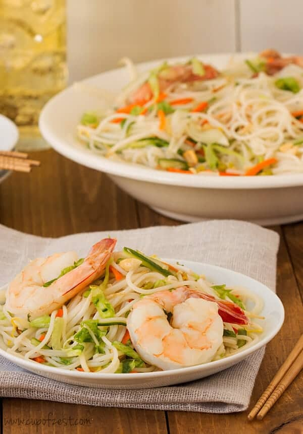 Shrimp Rice Noodle Bowl Serving