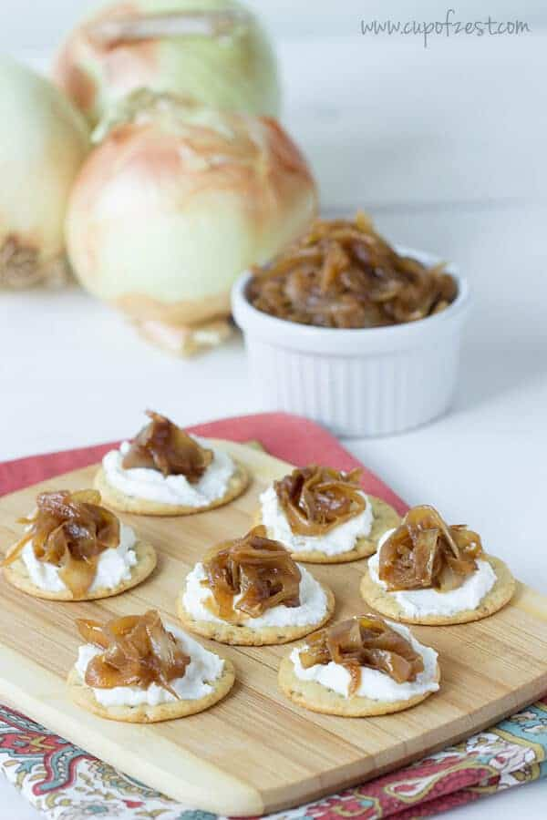 Apple Cider Vinegar Caramelized Onions on Crackers with Ricotta