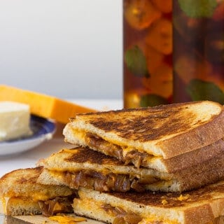 Apple Cider Vinegar Caramelized Onion Grilled Cheese and Tea