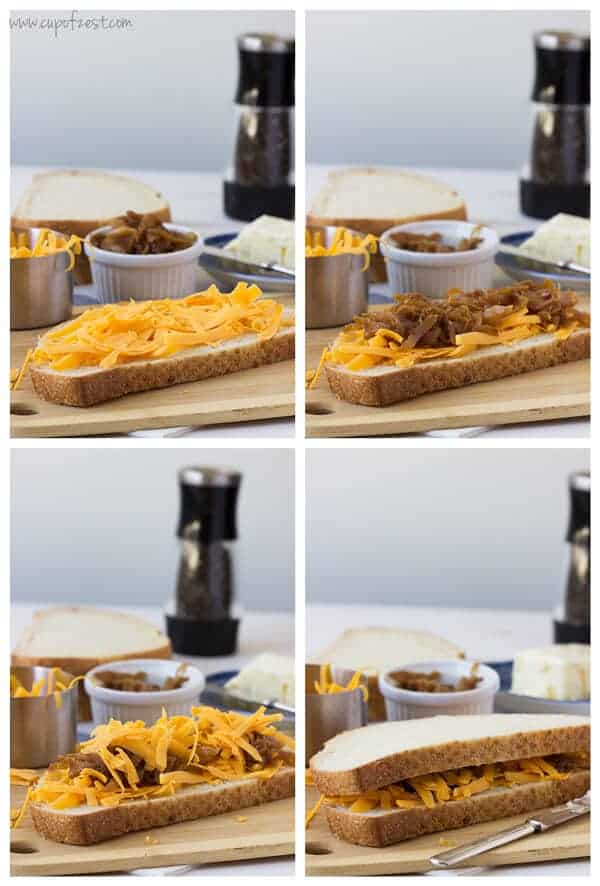 Apple Cider Vinegar Caramelized Onion Grilled Cheese Assembly