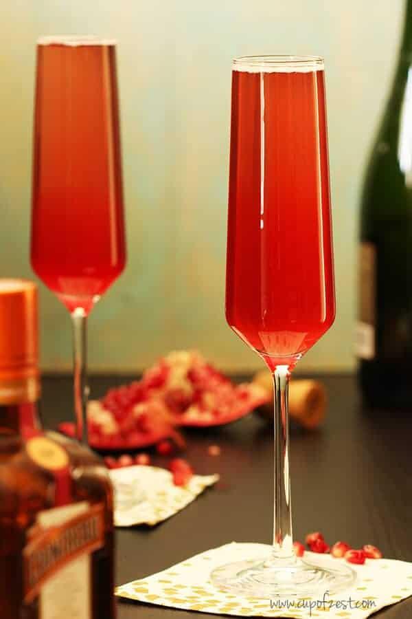 Orange Pomegranate Sparkling Cocktail Close Up