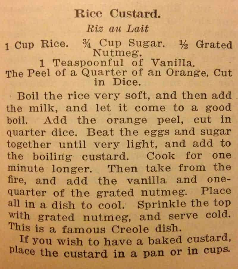 Original Rice Custard Recipe from Picayune Creole Cook Book #vintagerecipe
