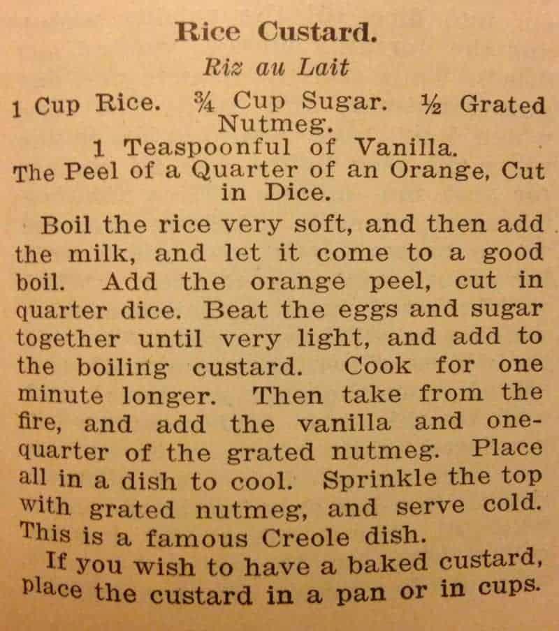 Original Rice Custard Recipe from Picayune Creole Cook Book #vintagerecipe
