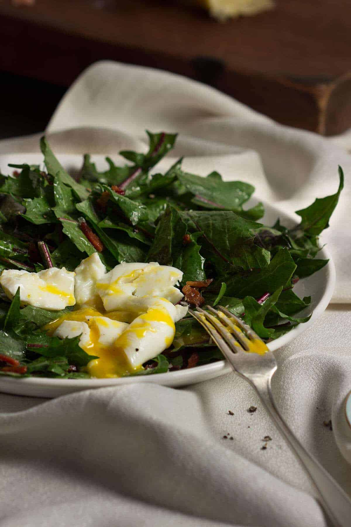 Wilted Dandelion Greens Salad with Broken Yolk