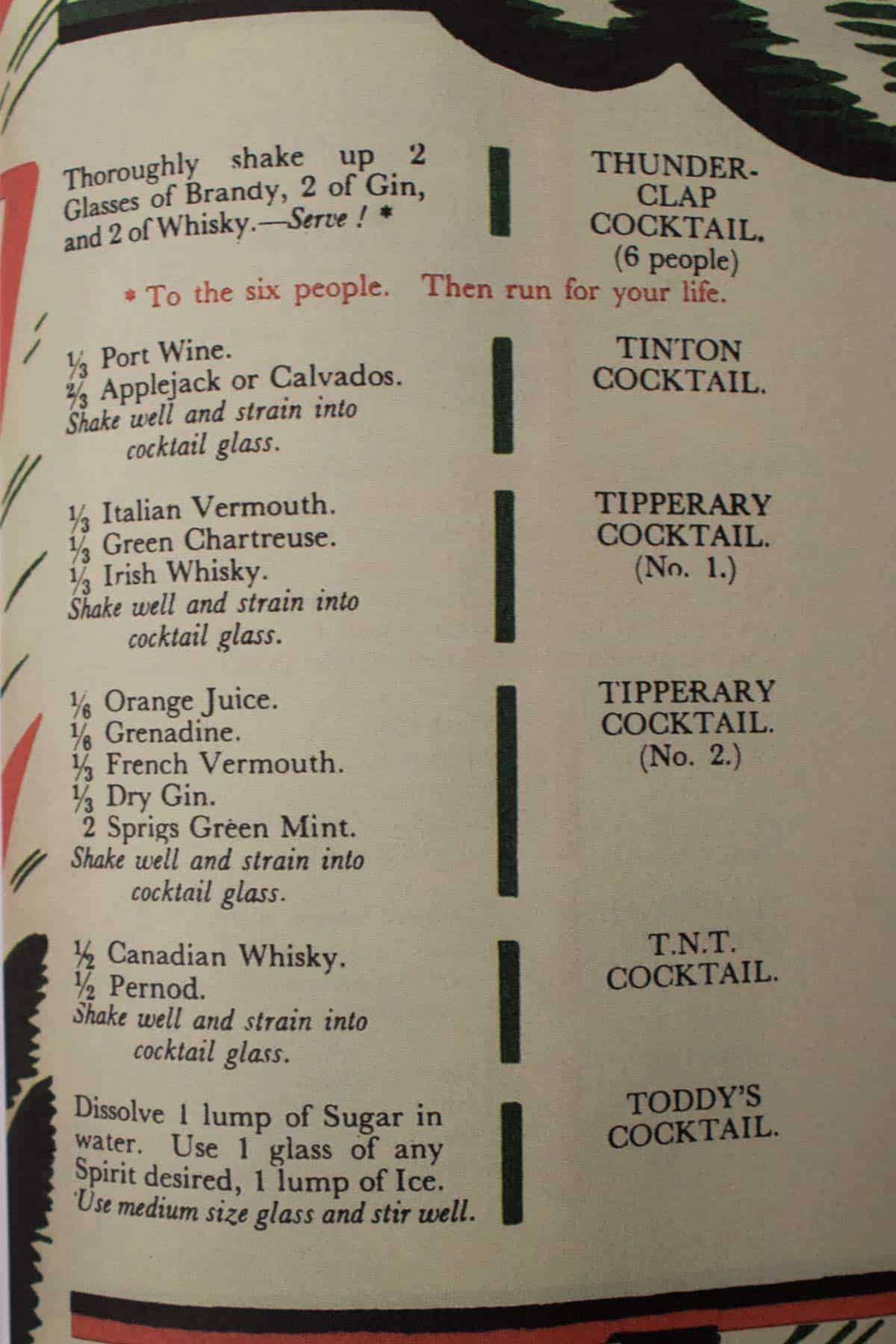 Cocktail Recipes from the The Savoy Cocktail Book, Originally Published in 1930