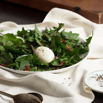 Wilted Dandelion Greens Salad with Soft Boiled Egg
