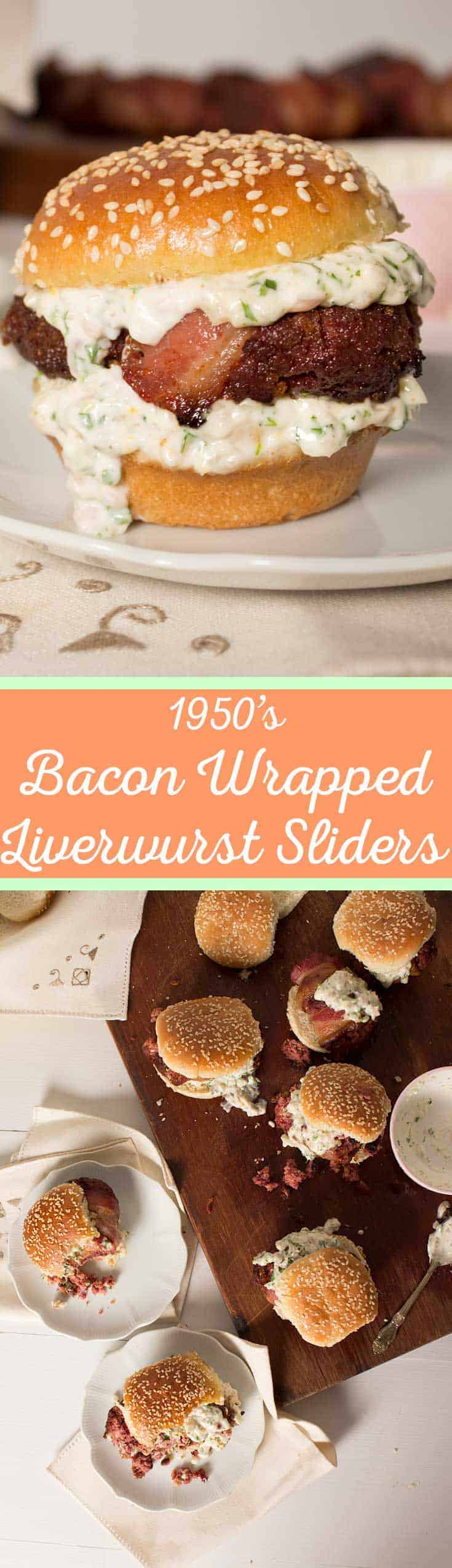 Bacon Wrapped Liverwurst Sliders - Don't let the name scare you! This vintage inspired recipe is a tasty little slider patty made from liverwurst, onion, creamy horseradish and corn flakes. It's a flavor bomb and did I mention it's wrapped in bacon...what more could you ask for! #vintagerecipe