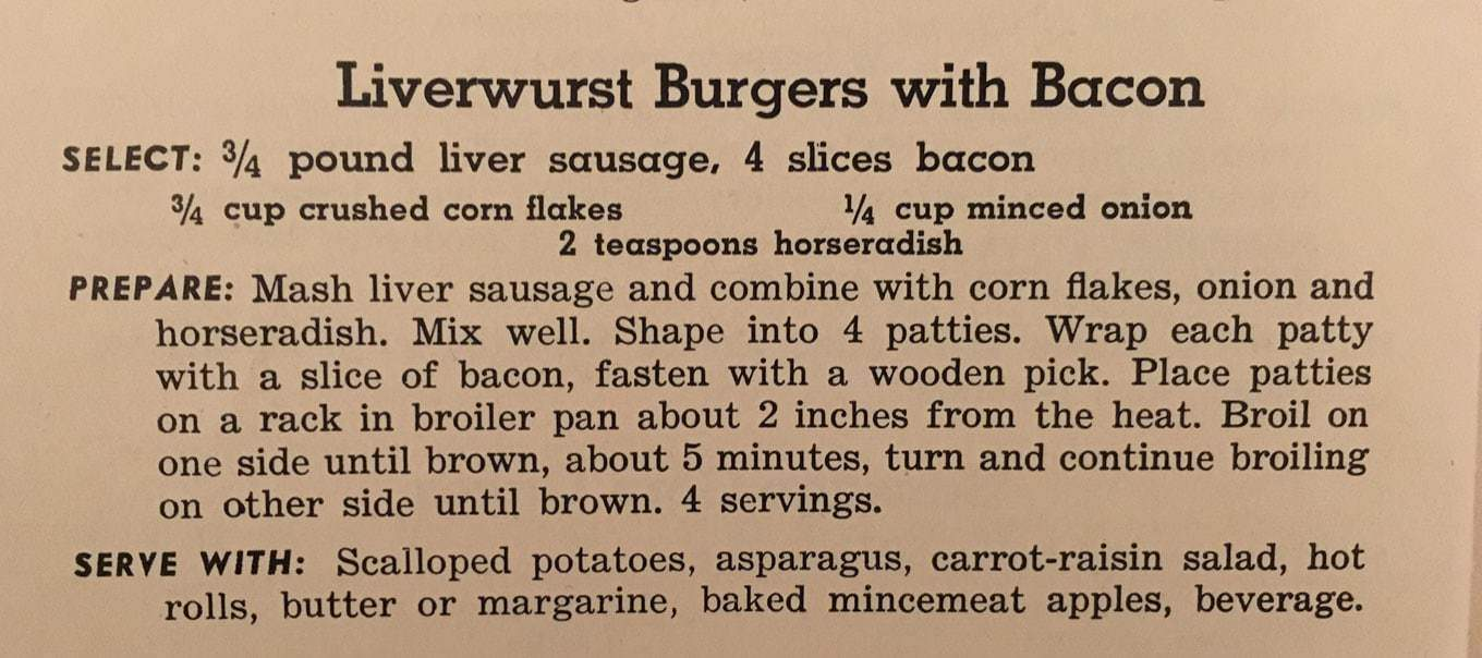 """1950's Liverwurst Burgers with Bacon Recipe - Originally published in the 1952 recipe pamphlet """"Meat Recipes You'll Talk About,"""" this recipe seems a little odd, but it is quite delicious! Read more about my updated version on www.cupofzest.com"""