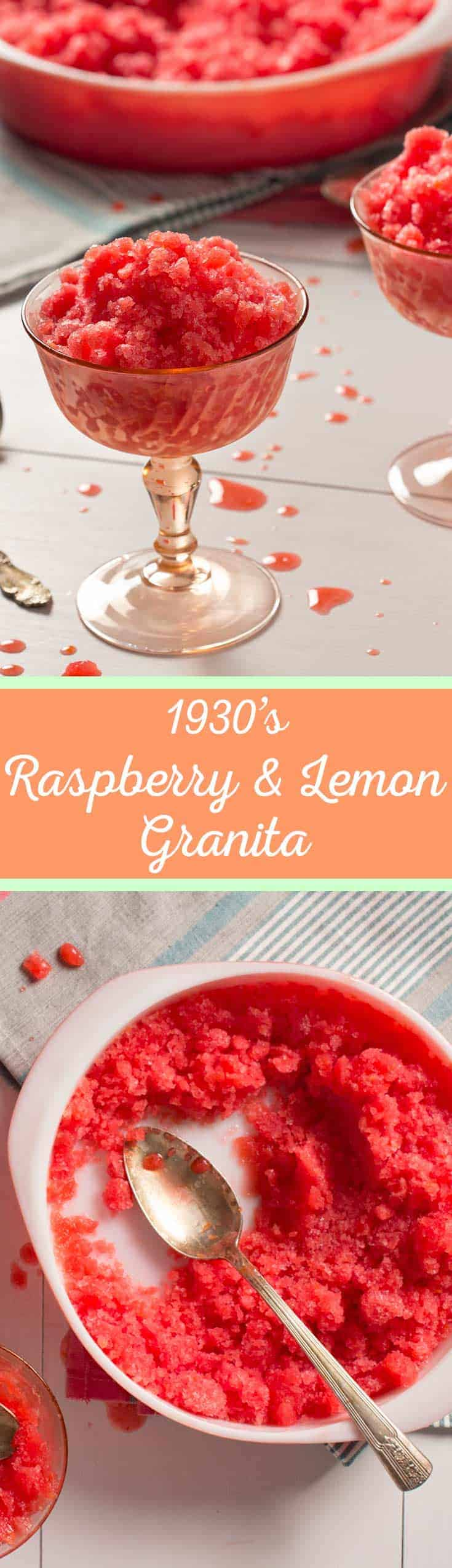 Raspberry Meyer Lemon Granita - Originally published in the 1930's, this recipe is bright and refreshing...perfect for a summer day! #vintagerecipe