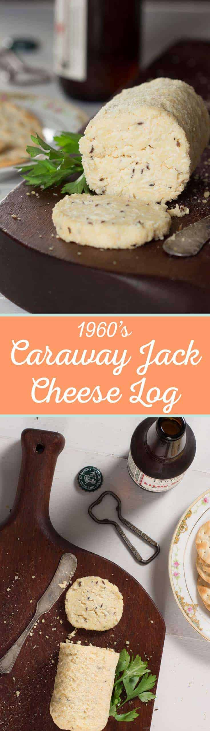 Caraway Jack Cheese Log - This vintage recipe from the 1960's is packed with flavor and perfect for any retro themed party! - cupofzest.com