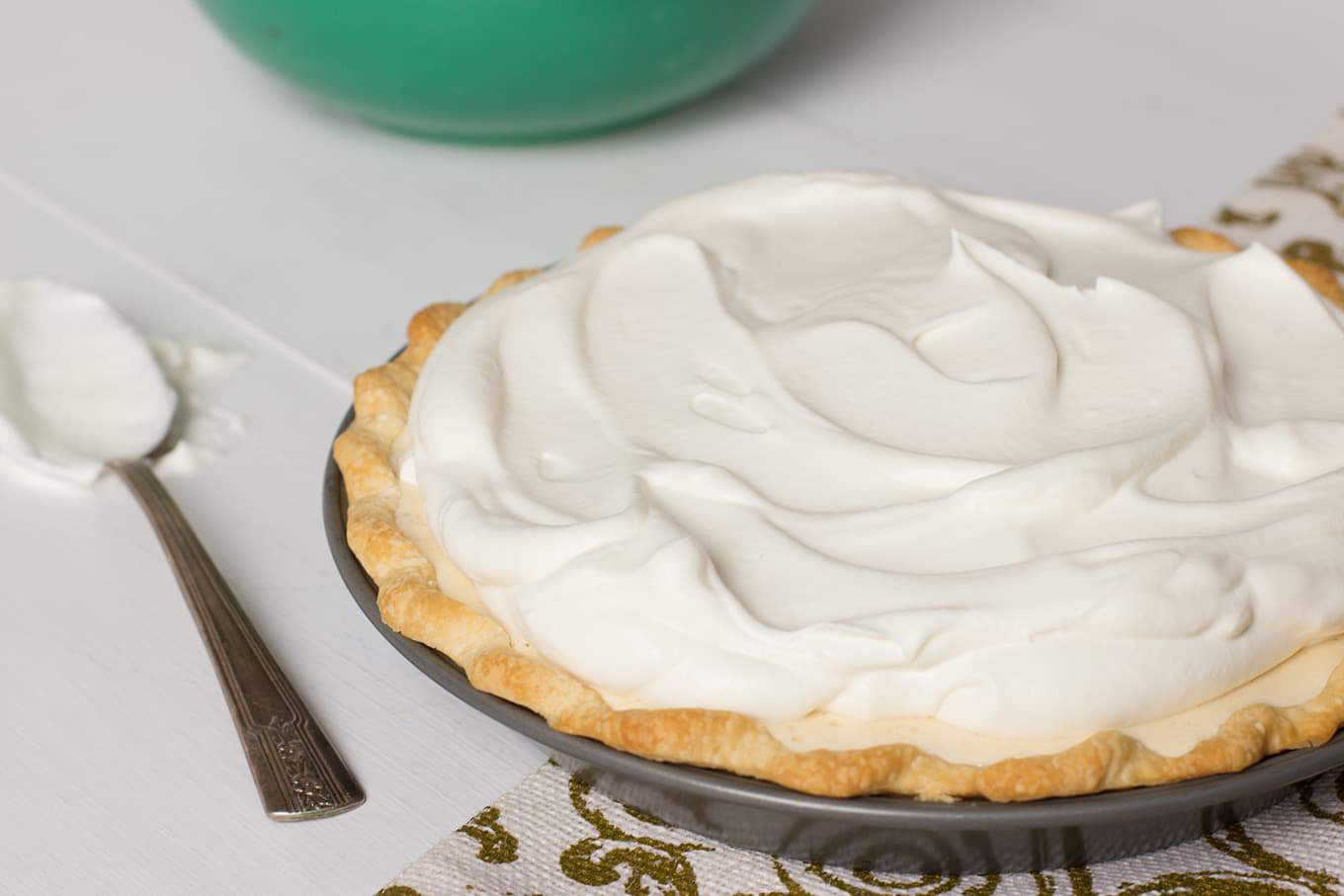 Eggnog Chiffon Pie - This delicate, silky chiffon pie is is a wonderful holiday dessert adapted from a 1940's recipe - cupofzest.com