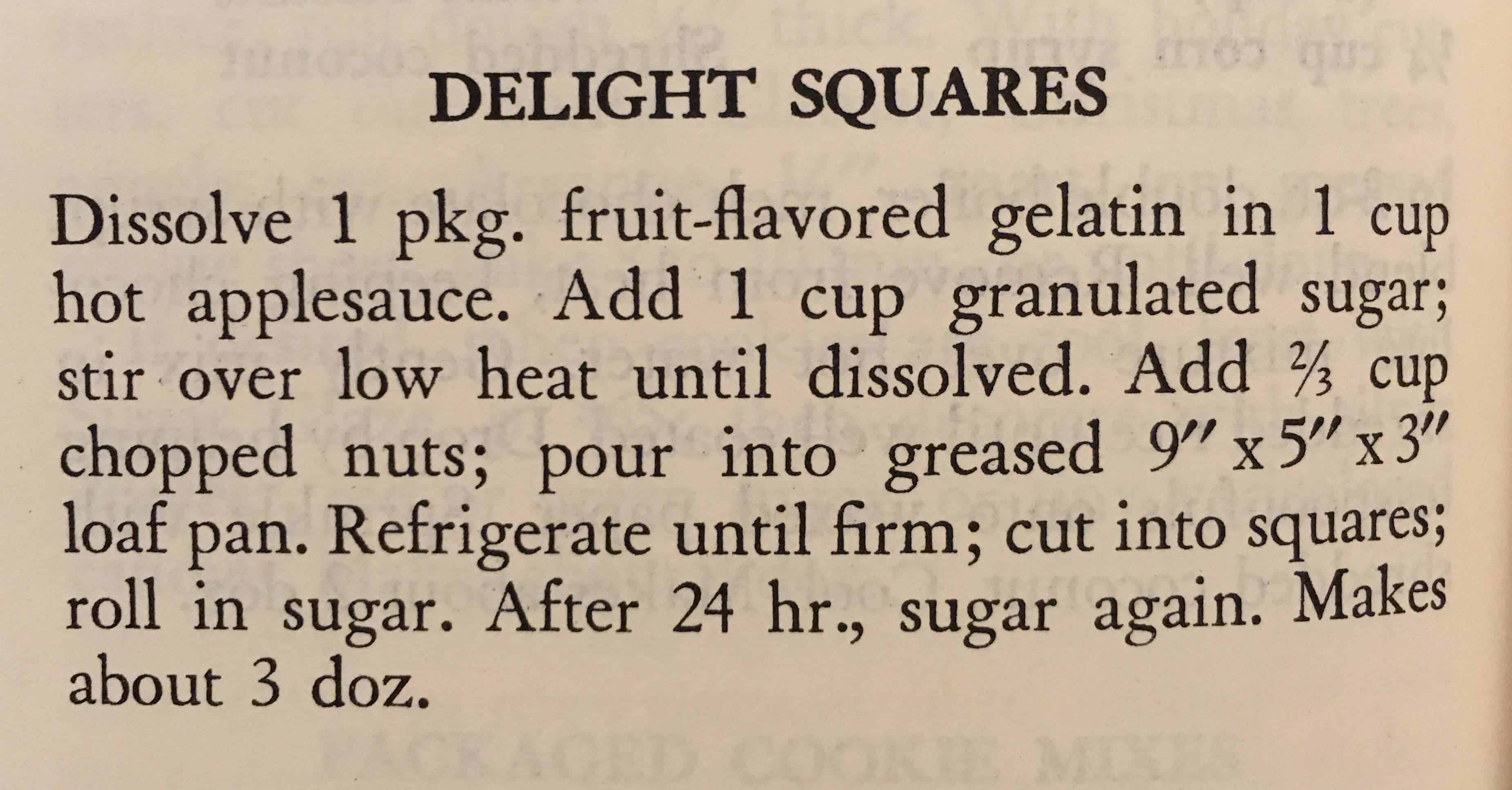 Delight Squares - This vintage recipe from the 1956 edition of the Good Housekeeping Cook Book is quite delicious! Check out cupofzest.com for my recreation!