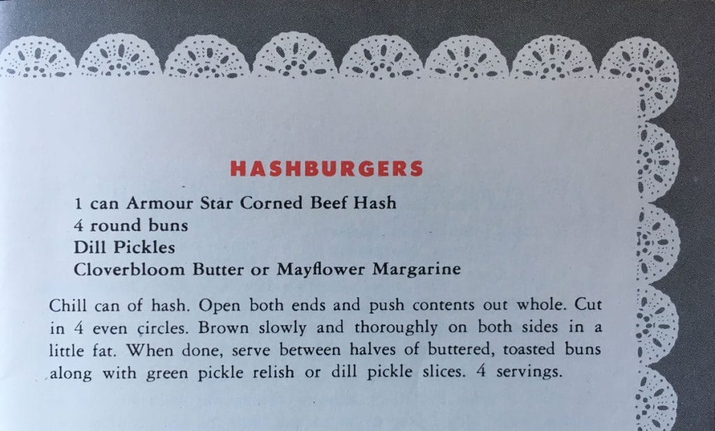 "Hashburgers - FROM 1948!!! Such a fun recipe from ""Meal Magic with Armour 'Pantry-Shelf' Meats."" Check out my updated version at www.cupofzest.com"