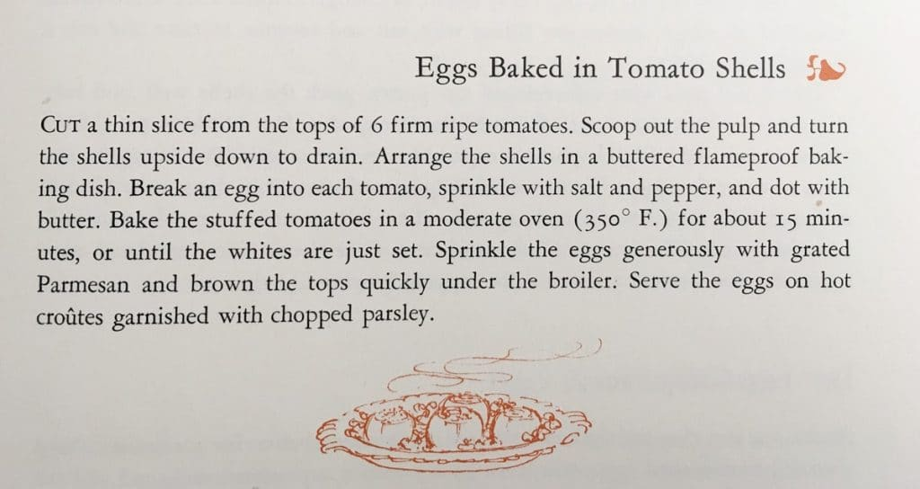 Eggs Baked in Tomato Shells - Published in 1963, this vintage recipe is from Gourmet's Menu Cookbook. You can find my version of this recipe on my retro recipe blog. - www.cupofzest.com