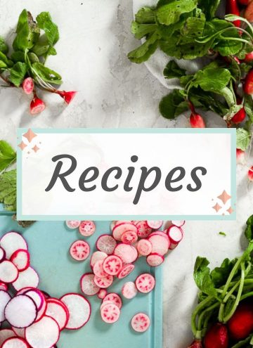 "a variety of different sized radishes sliced on a cutting board with whole radishes around it. The text ""recipes"" is in the middle of the image"