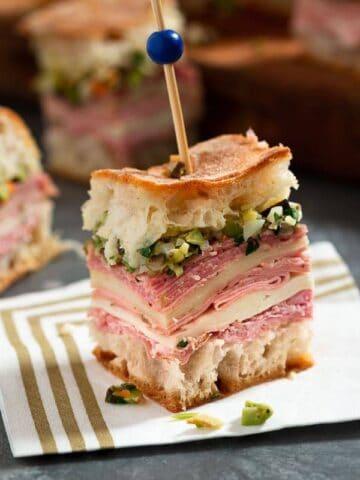 Focused Mini Muffulettas Sandwich