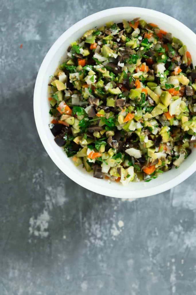 Individual Bowl of Olive Salad