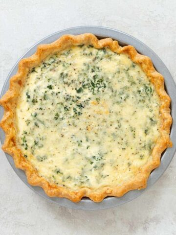 Quiche in a metal pie pan