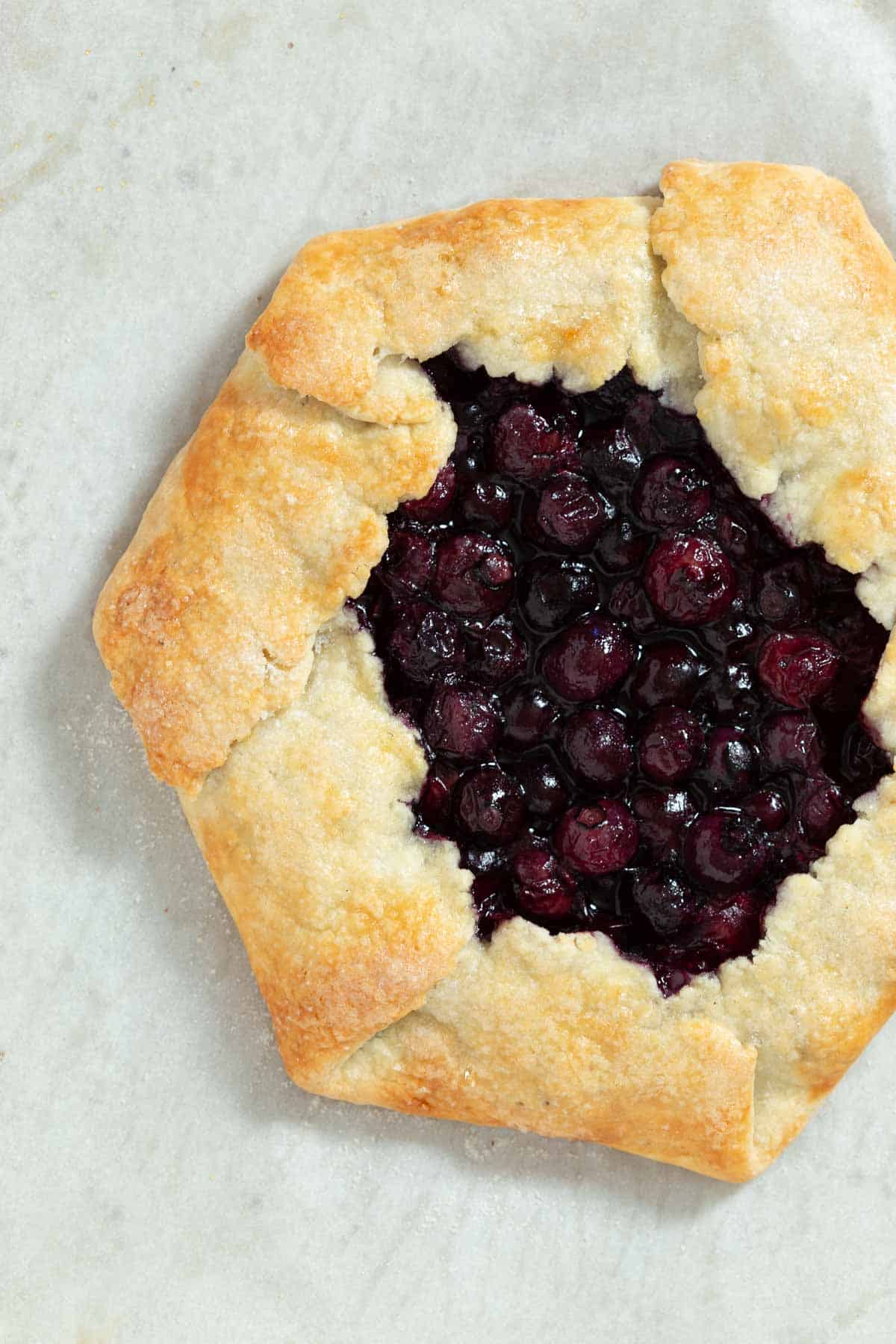 Close-up of baked blueberry galette