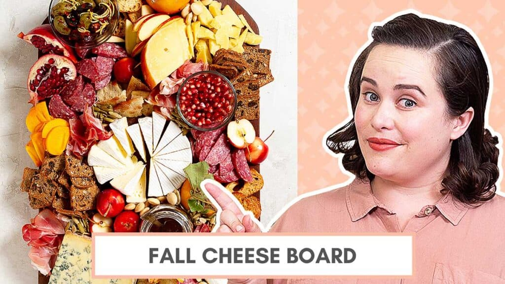 fall cheese board written over an image of a woman pointing toward another image of a cheese board