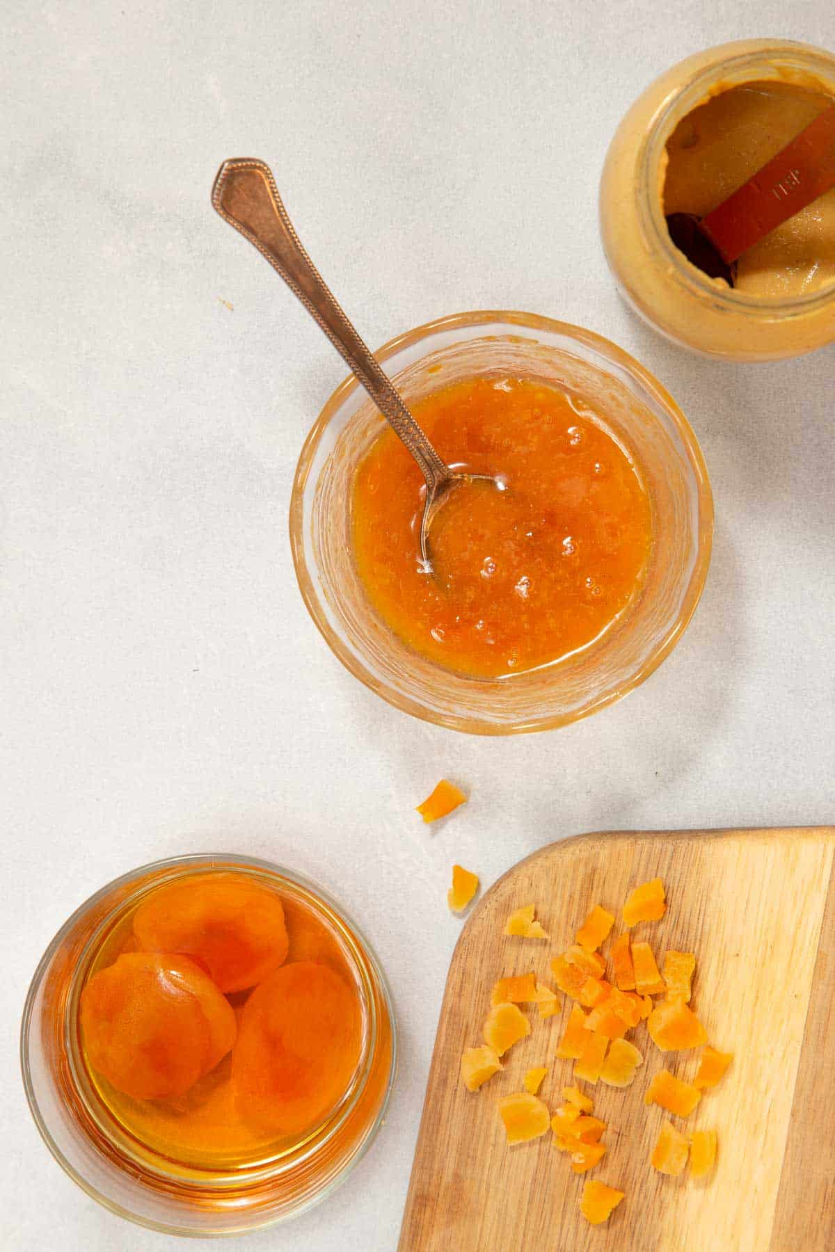 Apricots and preserves in glass jars