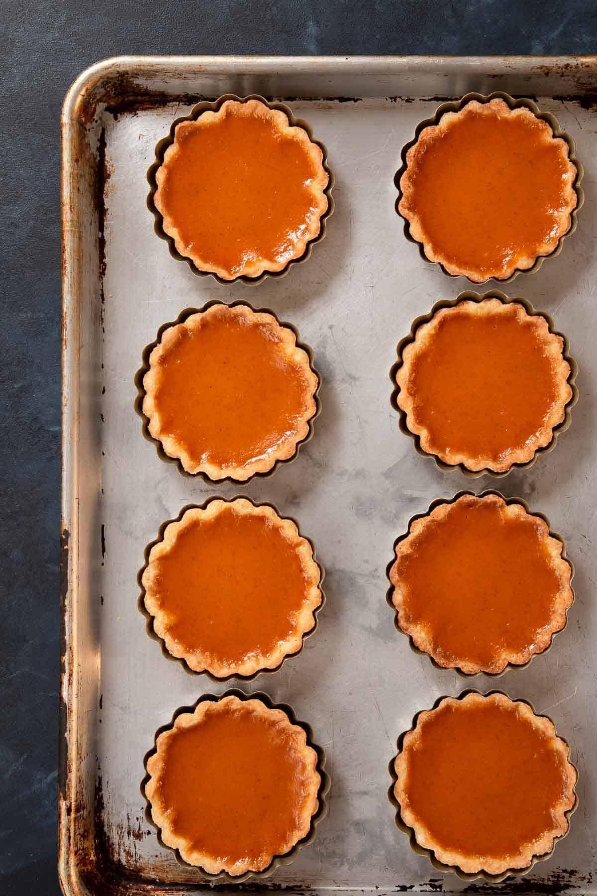 Baked individual pumpkin pie tarts