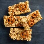 Cereal and pretzel bars on a black board