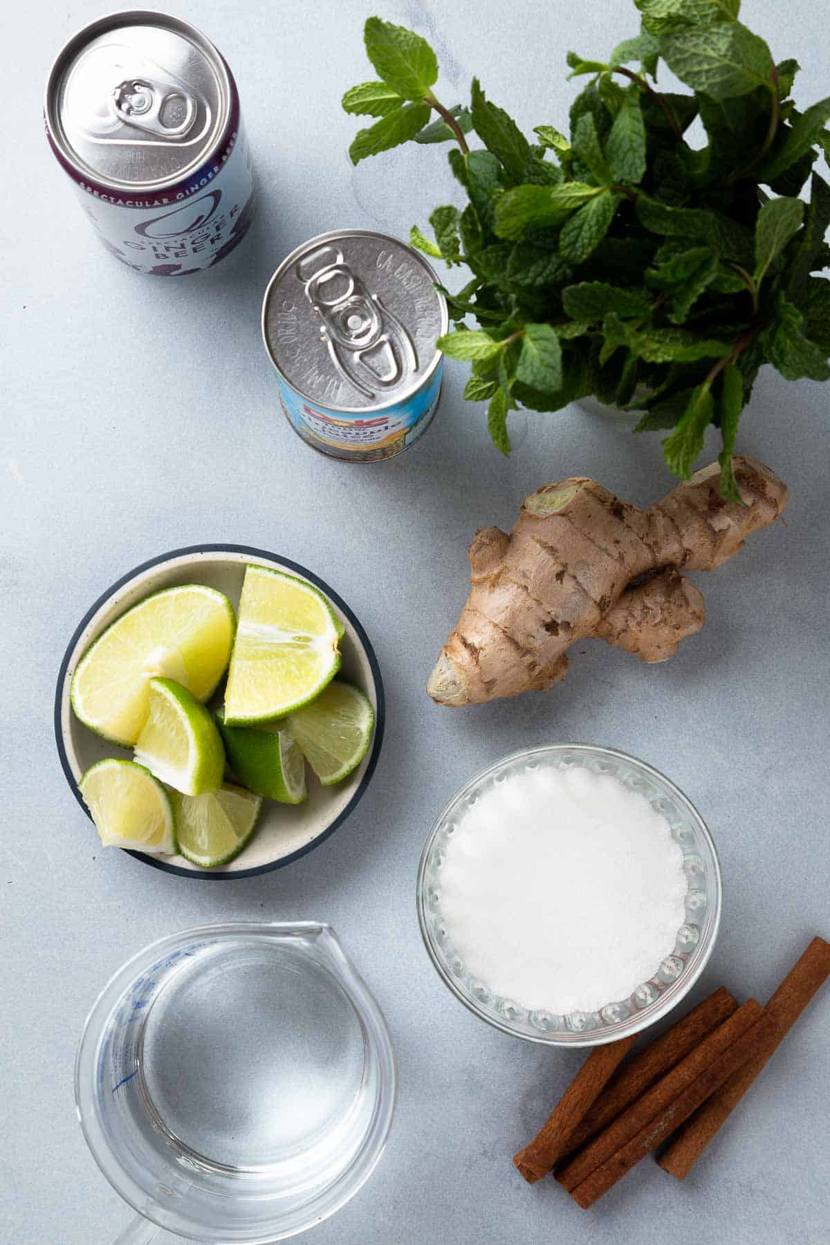 Overhead view of bowls of lime, water, and sugar next to mint, juice, ginger beer, ginger, and cinnamon sticks