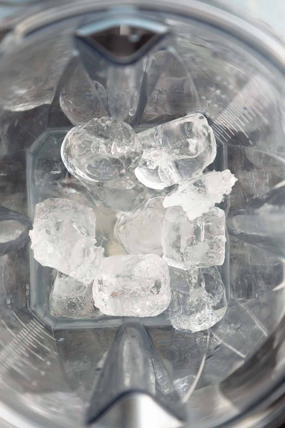 ice in a blender bowl