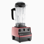 red vitamix blender on a white background