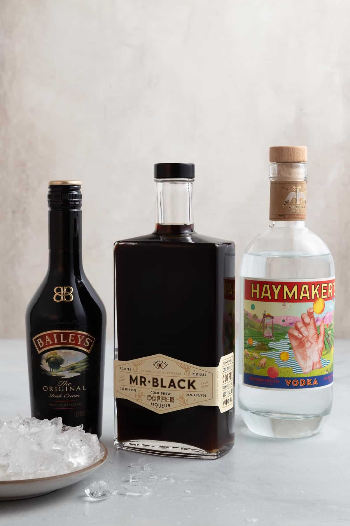 bottles of baileys, vodka, and coffee liqueur