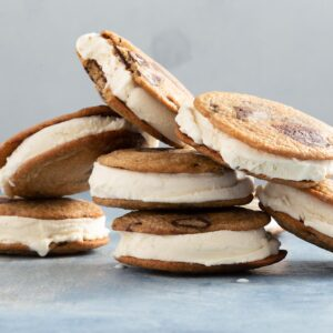 vanilla ice cream cookie sandwiches piled on top of each other