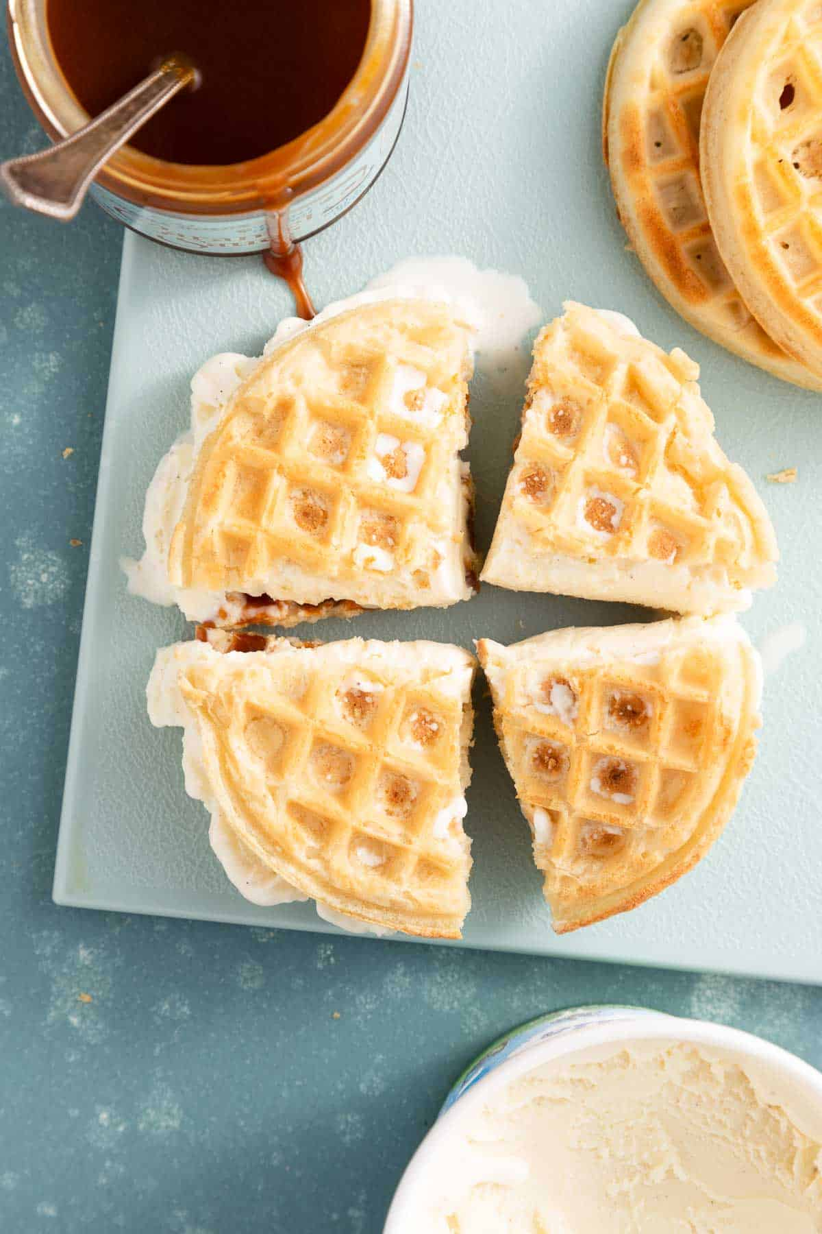 waffle ice cream sandwich cut into 4 pieces