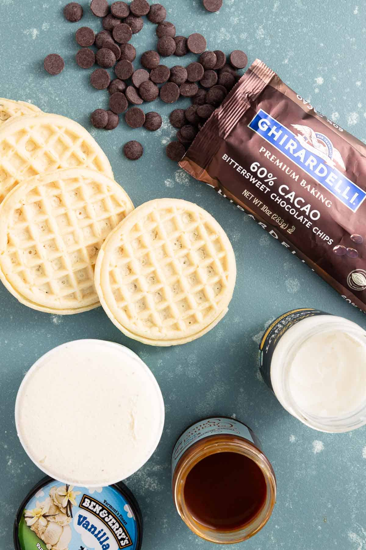 waffles, ice cream, coconut oil in a jar, and a bag of chocolate chips
